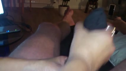 Foot & cook jerking with cum in nylons