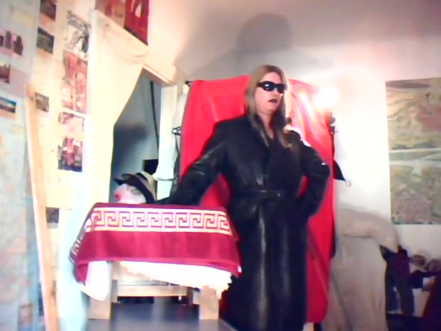Domina Madame Crudelitas in Leather Coat 1 Daddy fucks his daughter hard for the first time