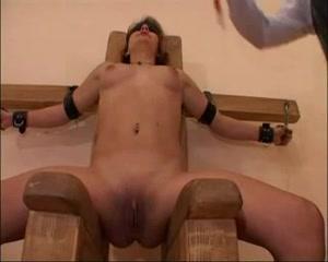 Old master spanking his hot tied brunette slut