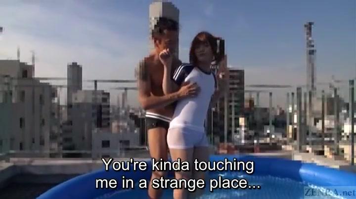 Subtitled Japanese crossdresser Kaoru Oshima rooftop handjob