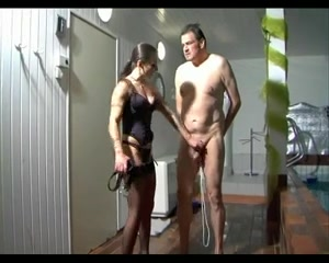 Empress Evil ballbusting in the pool Sex with chubby guy