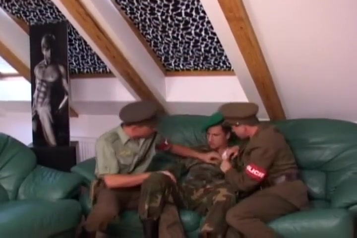 Army threesome ass in black jeans