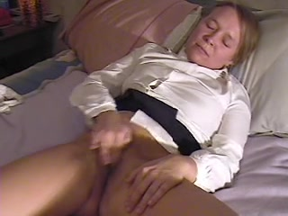 cutie masturbates and cums twice, interrupted by mommy at end Amateur blonde busty mature older