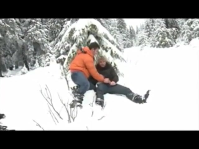 Fick im Schnee blindfolded surprise threesome gif