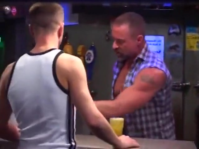 Moustached bodyguard buttons young gay datingws.com