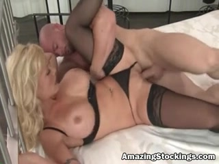 Hawt golden-haired mother Id like to fuck in darksome nylons sex Big monster tube