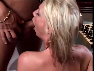 Golden-Haired floozy orally pleasures her boy