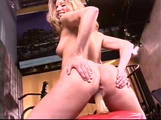 Breasty blonde uses a giant sex-toy in slit after workout Hottest lesbian porn video ever