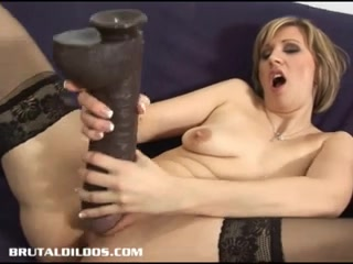 Vanessa feeds her vagina and butthole biggest dildos