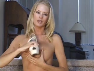 Blond in white JOI and CEI with multiple cum Milf solo masturbates