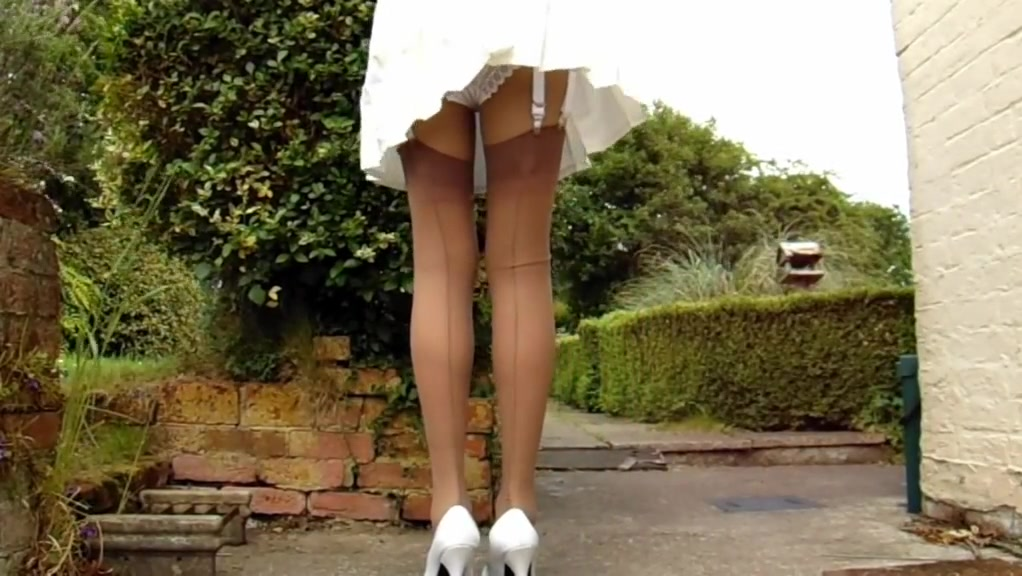 Tan stockings with pleated skirt on a windy day Duff porn title iframe