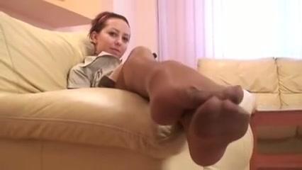 The delightful youthful legs in hose