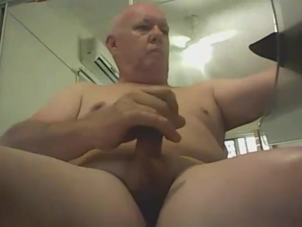 Sub smooth daddy wanking his nice cock giving neighbor blowjob when wife away
