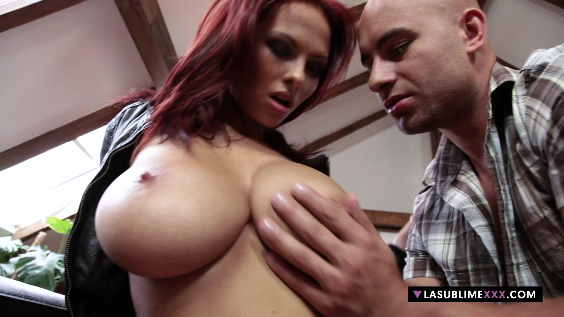 LaSublimeXXX Busty redhead Domino gets her pussy drill Big light skin ebony boobs