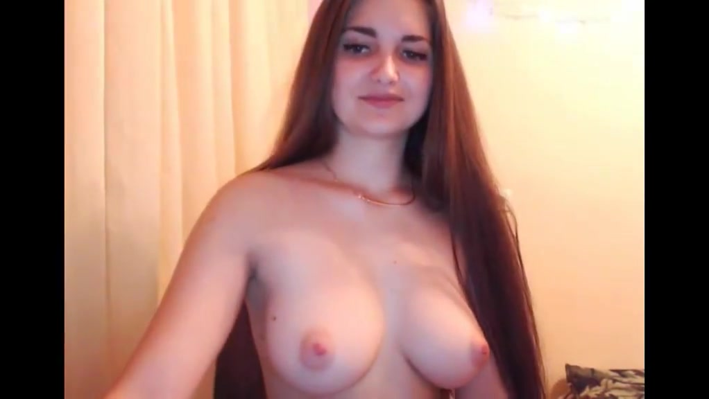 Sexy brunette playing and striptease long hair hair Nude pics telugu