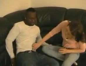 skinny girl tries black guy on the sofa my penis is curved