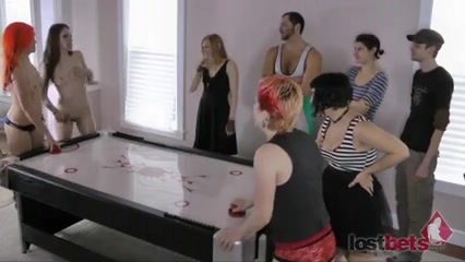 Disrobe Air Hockey with Aubrey, Belle, Cherry, and Devon P1 African black shaved pussy