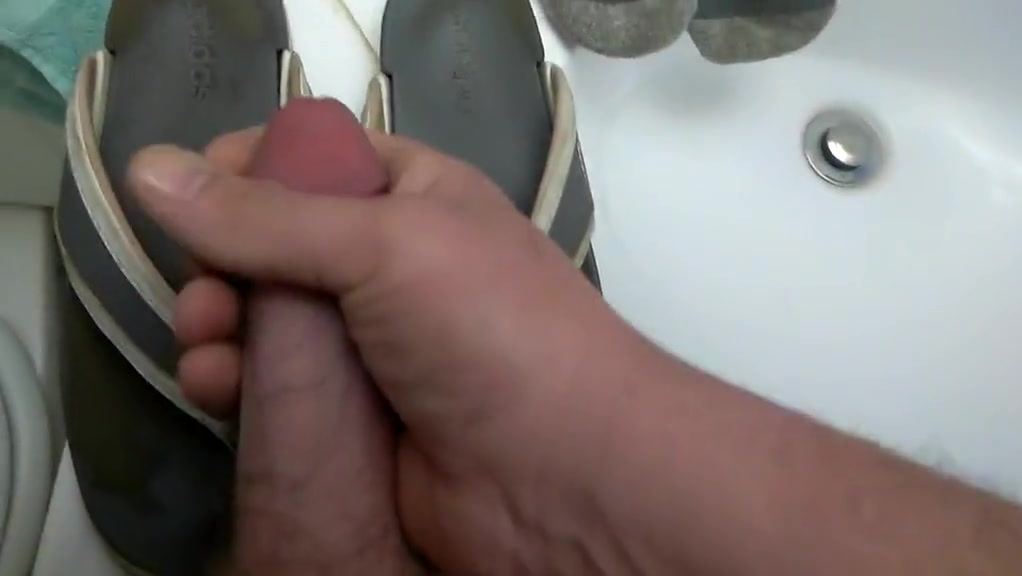 Crushed and Cum on Her Sandals Jiggling boobs good gif