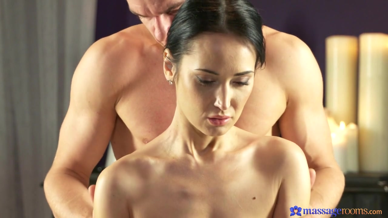 Angie Moon & Max Dyor in Dark Haired Babe On Massage Table - MassageRooms Busty latina lesbian milf