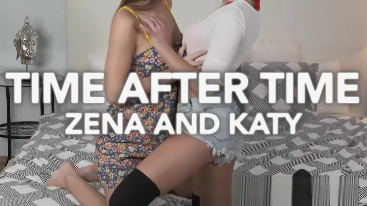 Brunette teen rubs her wet pussy on horny young blonde in stockings