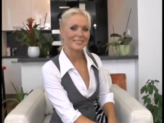 Czech hottie masturbating on an interview Dildo swollen head