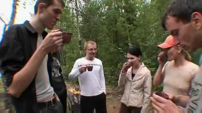 Gangbang Fun a Group of Young Russians on a Camping Trip that Gets Sexy Portuguese milf is an anal spinning slut