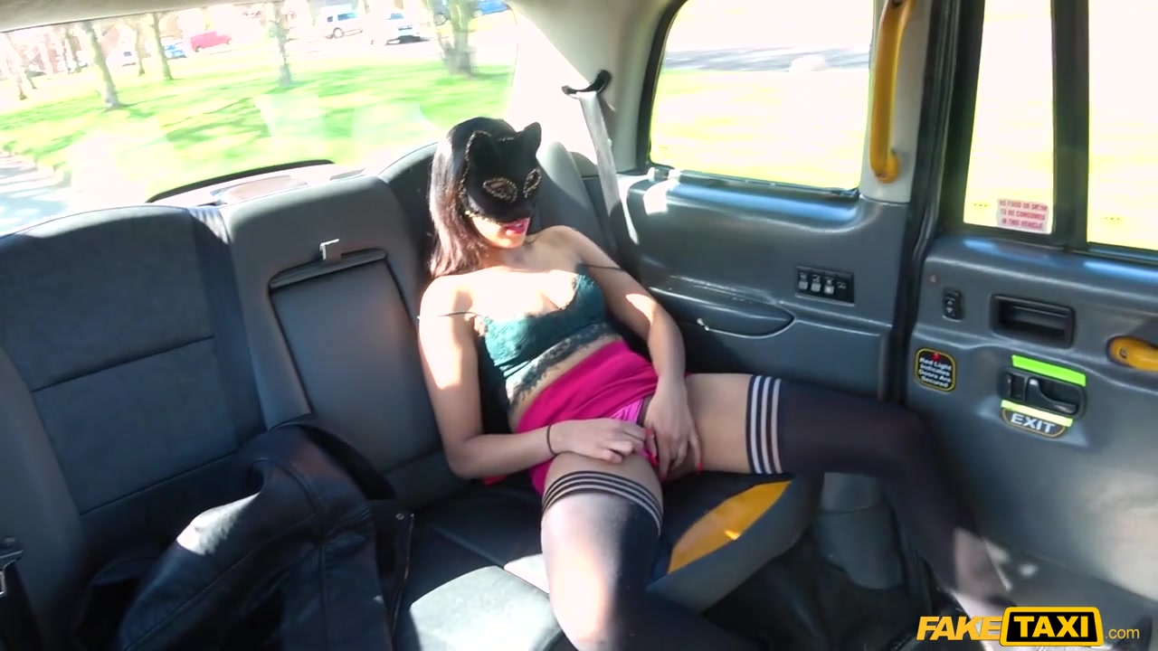 John & Masked Maya in Masked Maya Returns For Taxi Cock - FakeTaxi Cum load off on boobs gif