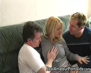 British golden-haired has an non-professional three-some