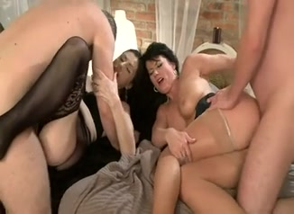 two brunettes for two guys Standing sex date with the landlady
