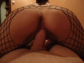 Latina wench in fishnets grinding on her boyfriends dong