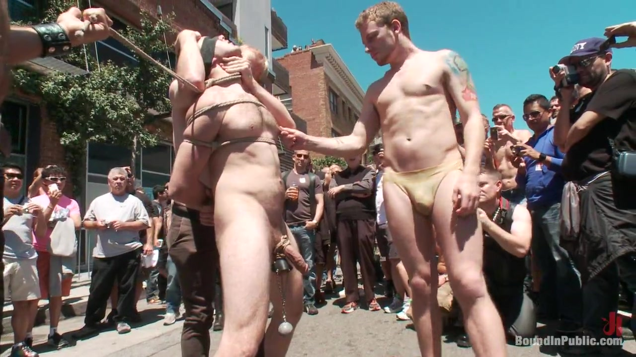 Bound in Public. Cody Allen Naked Tied up Zippered Humiliated in Public Threesome sex videos
