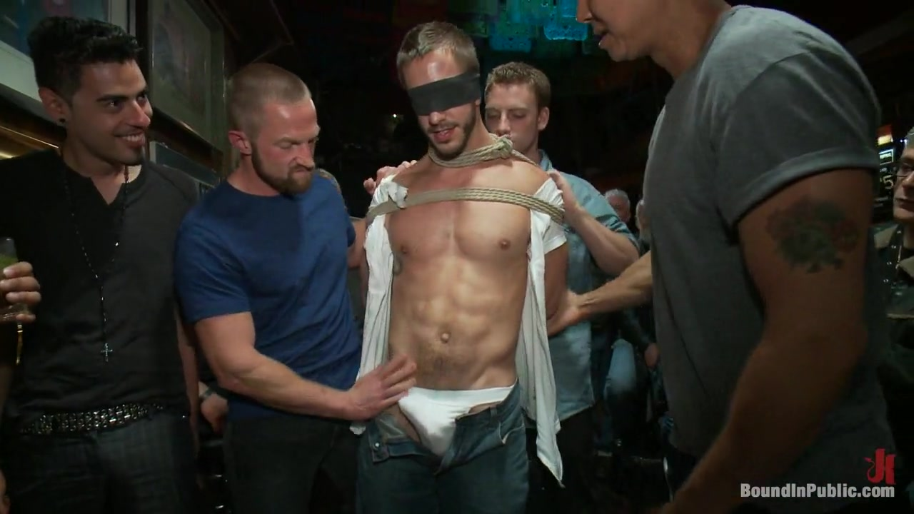 Bound in Public. Naked ripped stud gets humiliated and used in a crowded public bar Home Made Amateur Sex Video