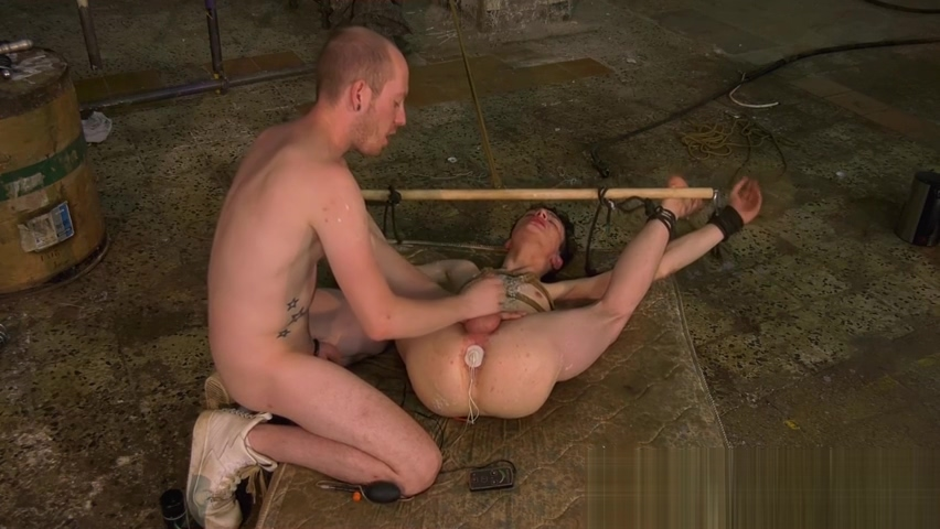 Bound twink slave Alex Faux receives anal toys and blowjob Redhead nude outdoor backyard dvd