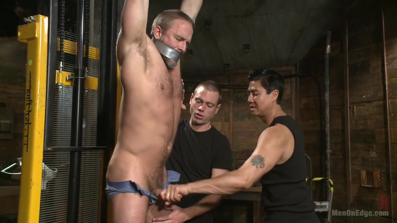 Muscled hunk taken and edged against his will 2 sexy milfs and a guy