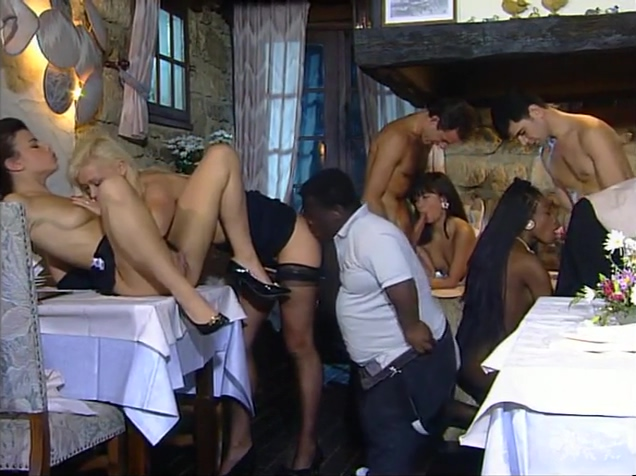 Dinner at Restaurant Turns Into a Sexy Orgy Lesbians having sex with girls
