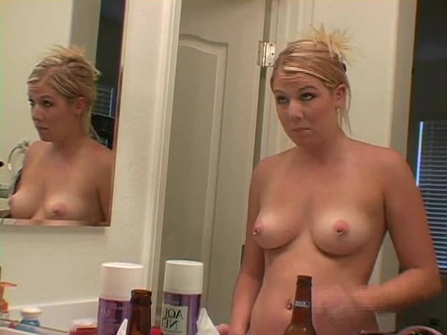 Exposing my big tits while putting on makeup