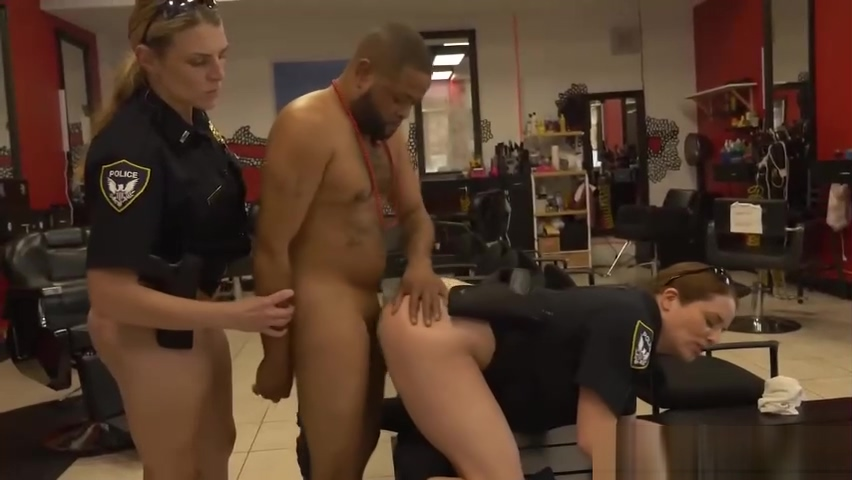Cops enter a store where criminal is trying to rob Amature blowjob party