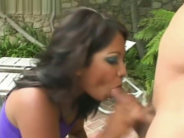 Sexy Asian takes a dick in garden
