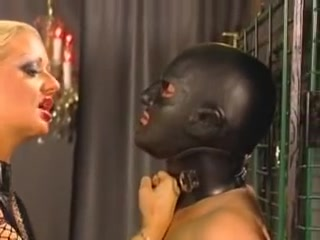 Hot blonde in kinky latex catsuit does perfect handjob Naked boy mistaken as girl