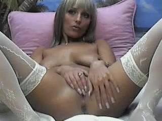 Blonde cam bimbo strips and finger fucks her wet vagina Mature blonde 654