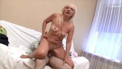 horny granny fucked in her aged pussy Leather sofa fuck