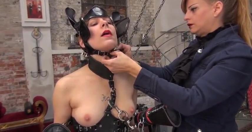 Lesbian Mistress humiliates naked slave-
