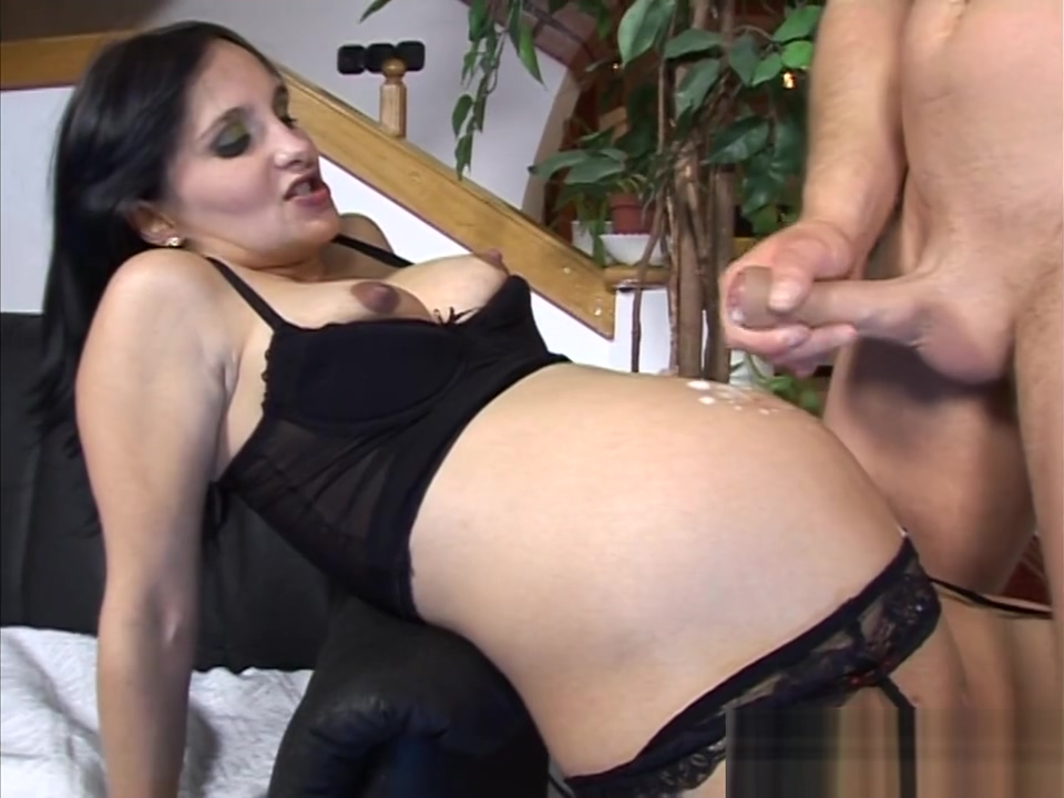 Pregnant brunette in lingerie gets anally pounded-