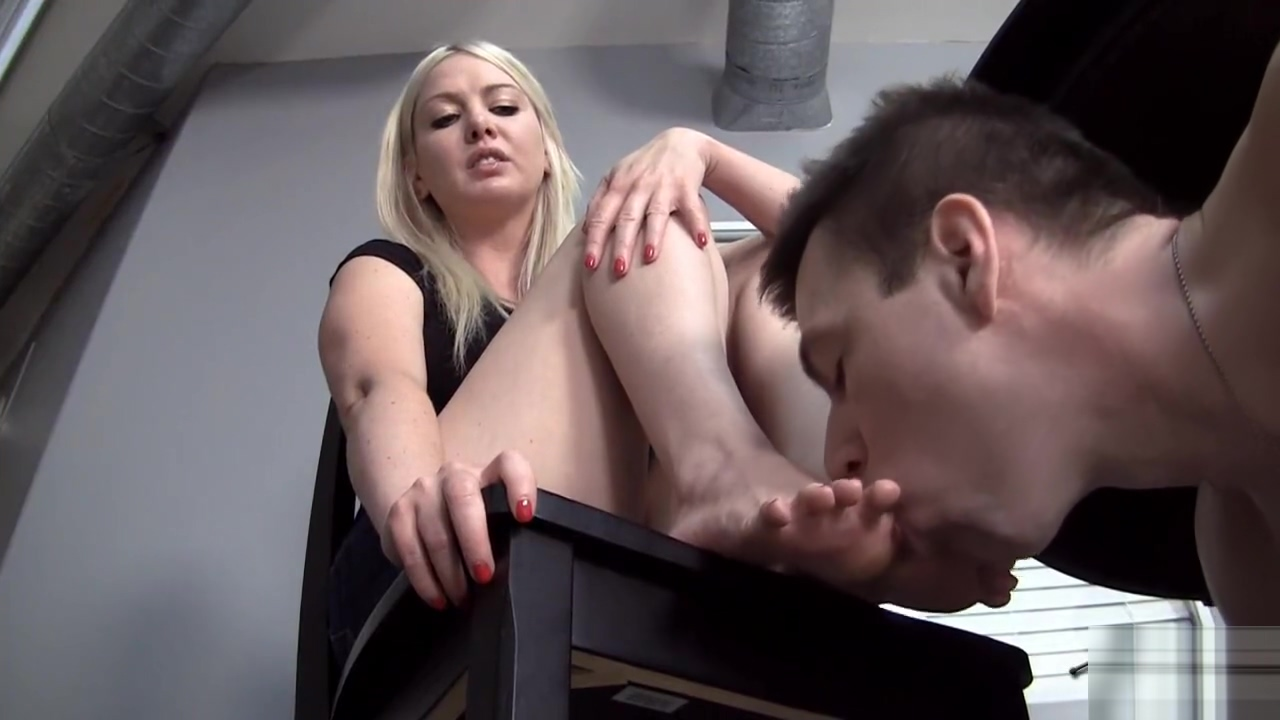 Hot blonde dominates guy with her sexy feet-