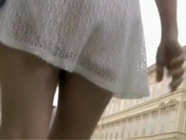 Girl in white knitted dress teasing with erotic upskirt teens with big tits in thongs