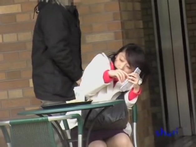 Caf. sharking action with lovable Japanese cutie receiving money shot