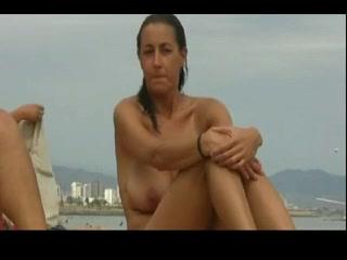 Stripped Beach - Large Boob Dark Brown Daring naked girlfriend