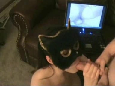 Masked Girl Gets Mouthful of Jizz