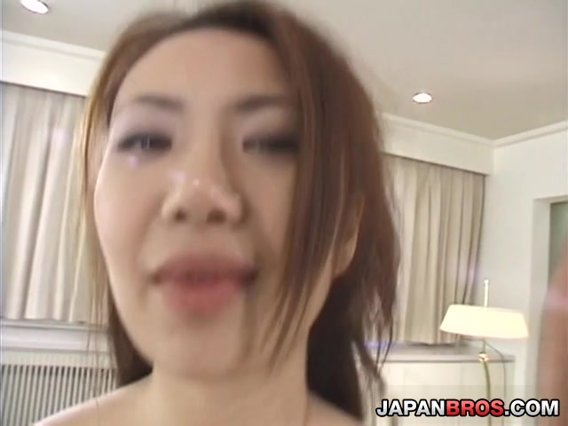 Lovely Japanese babe cock riding while sucking another dick German mature 3some