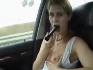 My gf toying pussy while I drive